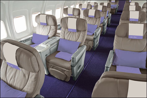 The wide, plush Biz Seats on transatlantic airline Open Skies