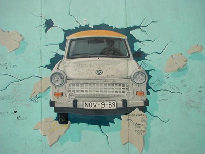 Graffiti of East German Trabant car