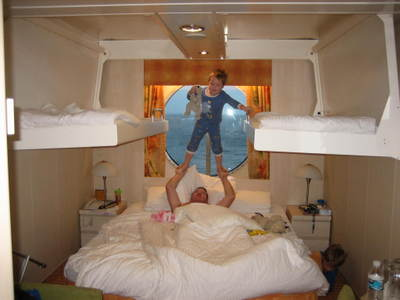 Wendy's son leaping in Constellation cabin