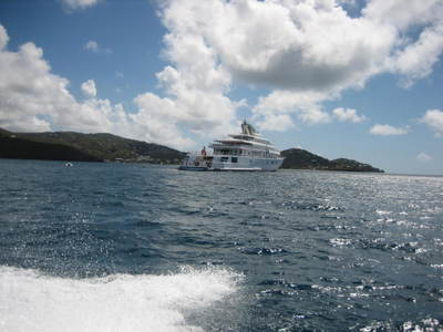 Larry Ellison's superyacht in Cruz Bay