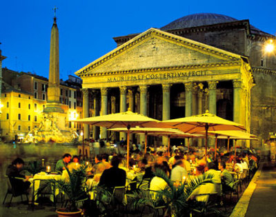 View of the Pantheon from the Piazza della Rotonda in Rome, Italy