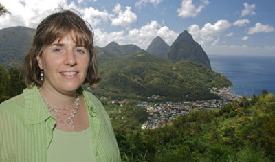 Wendy and view of Soufriere and Pitons
