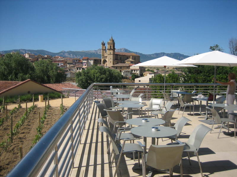 Blogger Wendy Perrin takes a break at the Hotel Marques de Riscal, attached to one of Spain's oldest wineries.
