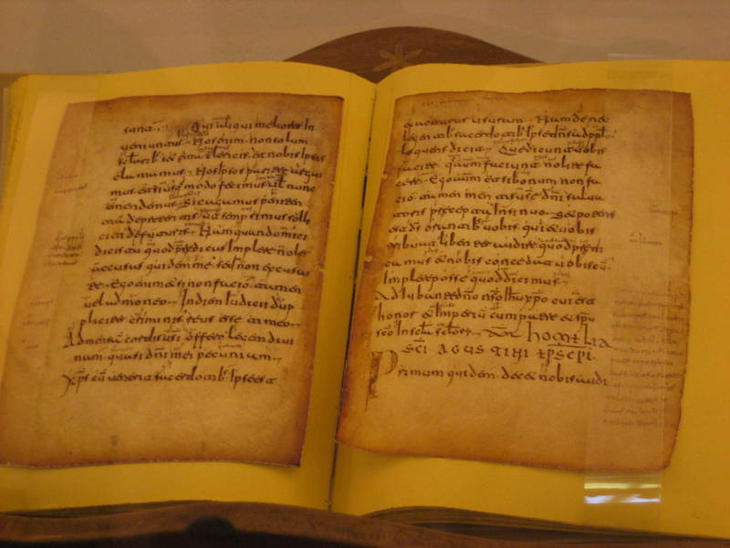 The Monasterio de Yuso in San Millan is an important pilgrimage site. One of the main attractions is this Latin text with a Spanish inscription - the first words ever written in that language.